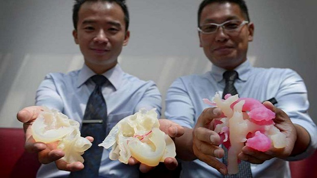KKH's Cardiology Service Consultant Dr Chen Ching Kit (left) and Cardiothoracic Surgery Service Consultant Dr Nakao Masakazu holding 3D printed heart models.  ST photo by Mark Cheong.